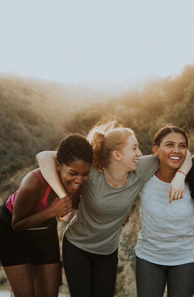 diverse friends laughing